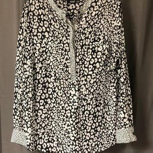 Women's Black & White Animal Print Sheer Blouse